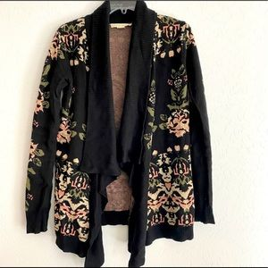 Staring at Stars Black Floral Open Front Cardigan